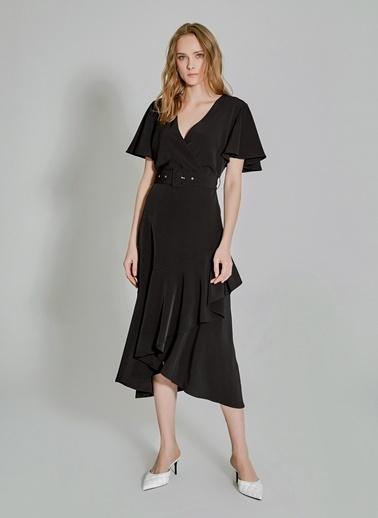 People By Fabrika Volanlı Kemerli Elbise Siyah